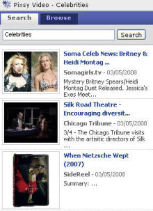 Pixy create a celebrity search widget for Pageflakes