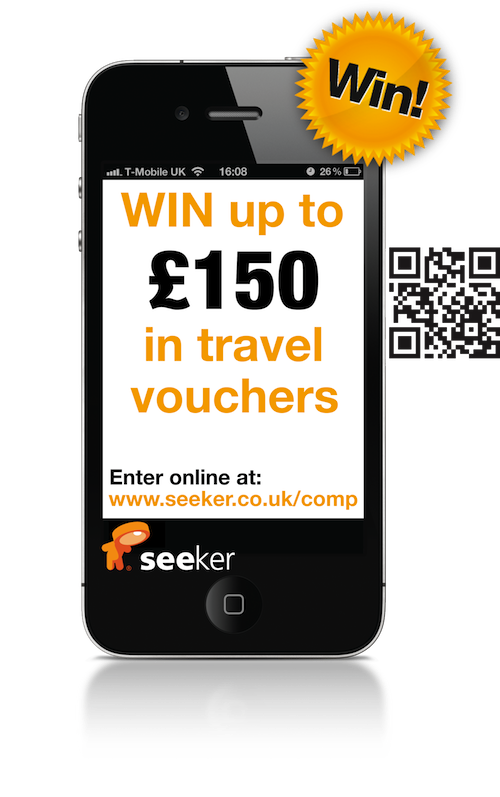 seeker travel competition phone image with QR code