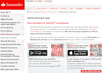Santander mobile banking website homepage