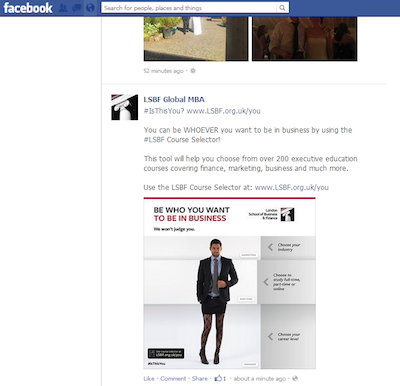 The London School of Business and Finance Be who you want to be in business marketing campaign on Facebook image