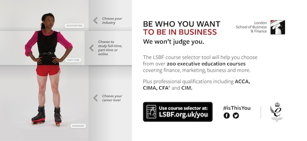 The London School of Business and Finance Be who you want to be in business marketing campaign on tube car panel image