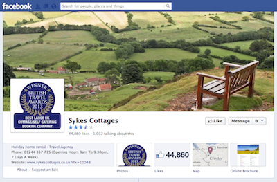 Sykes Cottages Facebook homepage