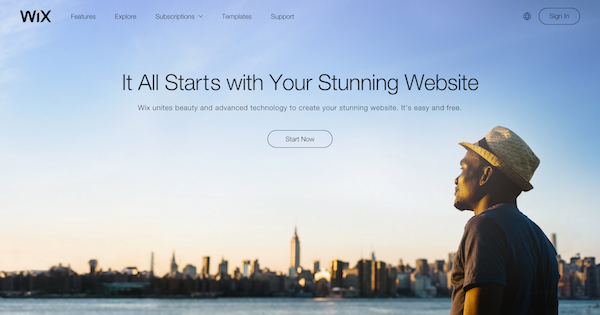 Wix homepage image