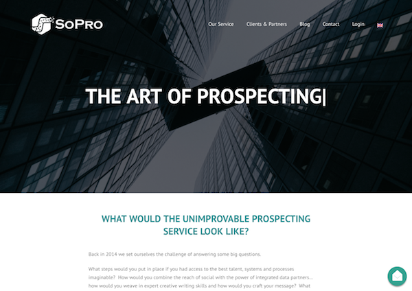 SoPro homepage image the art of social prospecting