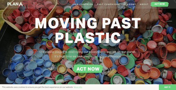 PlanA.Earth Plastic campaign website image